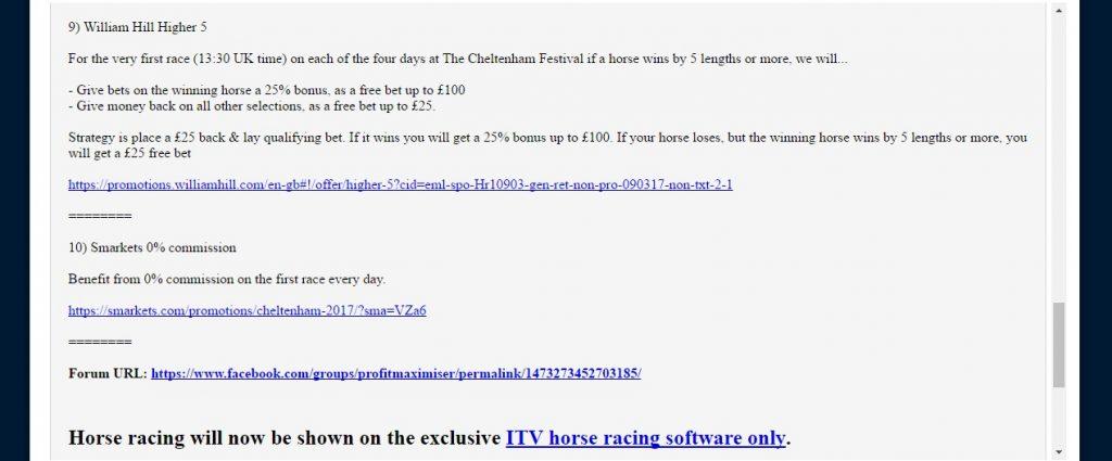 Profit Maximiser Cheltenham Calendar Offers