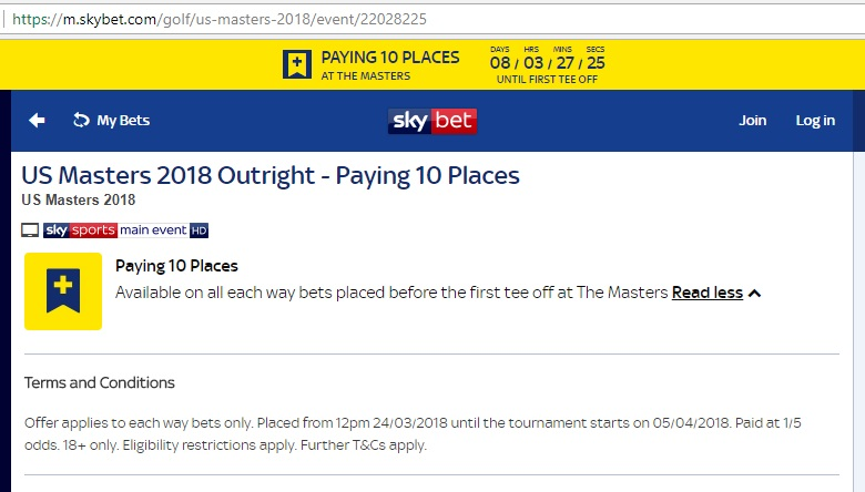 Skybet Masters 10 Places